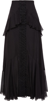 Charo Ruiz Ibiza Niurka Crocheted Lace-trimmed Layered Cotton-blend Voile Maxi Skirt