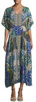 Johnny Was Short-Sleeve Mixed-Print Maxi Dress