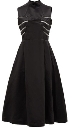 Noir Kei Ninomiya Eyelet-embellished Open-back Satin Midi Dress - Womens - Black