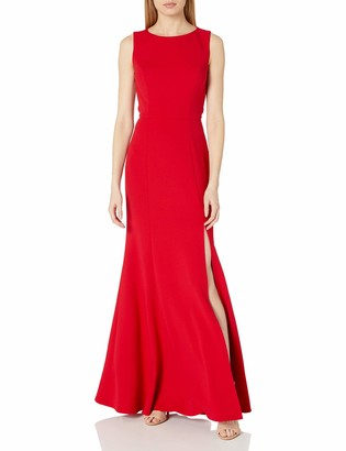 Jenny Yoo Women's Gia Open Back Boatneck Fit and Flare Crepe Gown