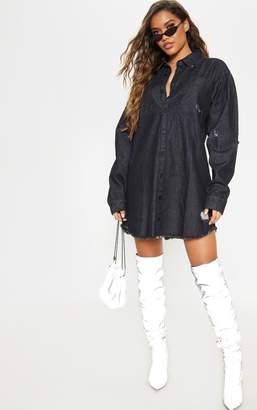 PrettyLittleThing Washed Black Distressed Denim Shirt Dress