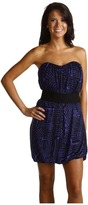BCBGMAXAZRIA Belted Strapless Dress (Regal Blue Combo) - Apparel