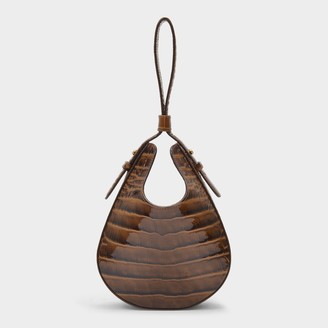 S.JOON Teardrop Bag In Brown Croc-Embossed Leather