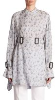 Calvin Klein Collection Kenhorst Bis Flower Bouquet Belted Silk Tunic