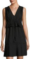 Max Studio V-Neck Drawstring Pleated Dress, Black