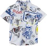 Diesel Snap Front Poplin Shirt (Baby) - White-6 Months