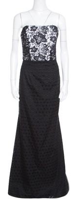Monique Lhuillier ML by Monochrome Floral Lace Bodice Detail Flared Strapless Gown M