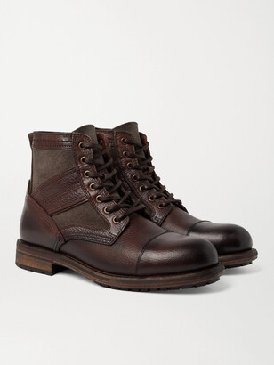 Belstaff Trent Canvas And Full-Grain Leather Boots