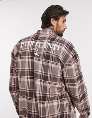 Asos Design DESIGN 90s oversized check shirt in purple dye with back print