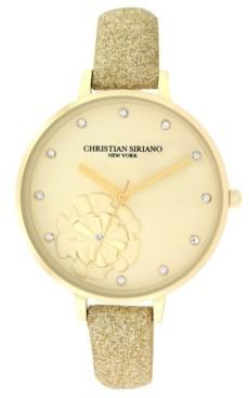Christian Siriano New York Christian Siriano Women's Analog Gold-Tone Stainless Steel Glitter Strap Watch 38mm