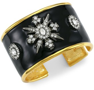 Kenneth Jay Lane Goldplated, Black Enamel & Crystal Cuff Bracelet