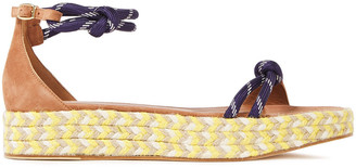 Malone Souliers Simona Knotted Cord-trimmed Suede Platform Espadrille Sandals