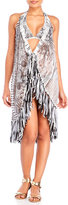 save the queen Printed Fringe Cover-Up