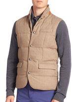 Ralph Lauren Purple Label Sleeveless Wool & Lamb Leather Down Vest