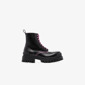 Balenciaga Black Lace-Up Silk Leather Ankle Boots