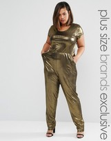 One Day Plus Metallic Cap Sleeve Jumpsuit