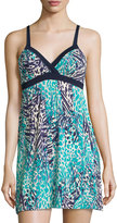 Cosabella Sapna Printed Babydoll Dress/Nightgown, Navy Blue