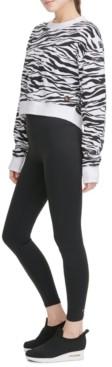 DKNY Sport Zebra-Print Long-Sleeve Cropped T-Shirt