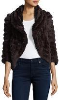 Neiman Marcus Knit Rabbit Fur Striped Shrug