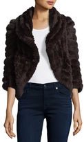 Neiman Marcus Luxury Knit Rabbit Fur Striped Shrug