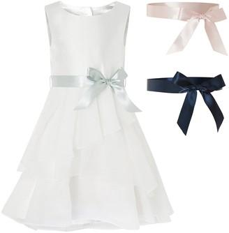Monsoon Girls Tiered Organza Dress - Ivory