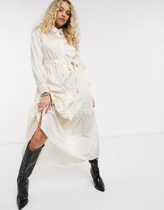 Object satin maxi shirt dress with tie waist in cream