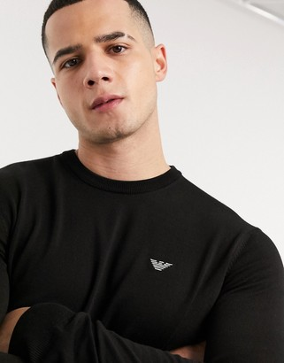 Emporio Armani small logo knitted sweater in black