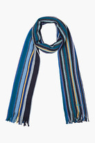 Paul Smith Navy stripe virgin wool scarf
