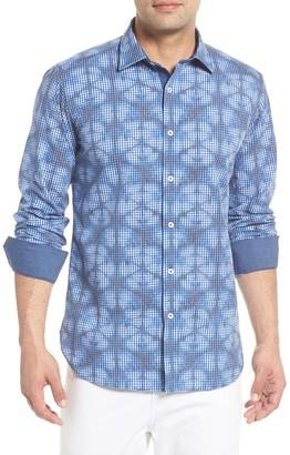 Bugatchi Abstract Check Print Trim Fit Shirt