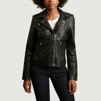 La Petite Francaise Black Leather Brawler Jacket - 34 | leather | black - Black/Black