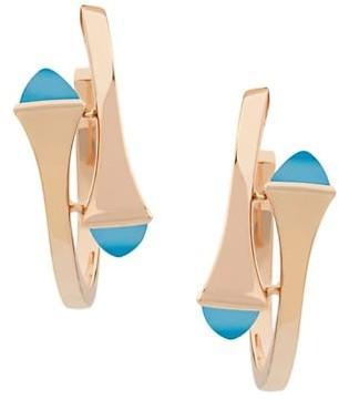 Marli Cleo By 18K Rose Gold & Blue Chalcedony Hoop Earrings