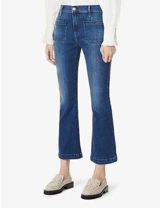 Frame Organic Ladies Blue Cotton Grained Le Bardot Crop Flare Mid-Rise Stretch-Organic Denim Jeans, Size: 23