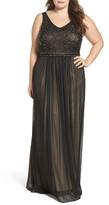 Xscape Evenings Plus Size Women's Beaded Mesh Gown