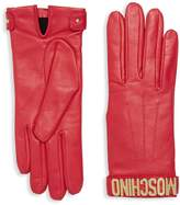Moschino Women's Leather Logo Gloves