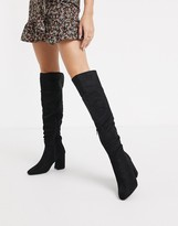 New Look over the knee heeled boots in black suedette