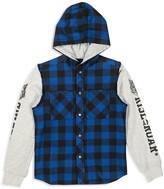 Diesel Boys' Sweatshirt Sleeved Buffalo Plaid Hooded Shirt - Sizes 4-16