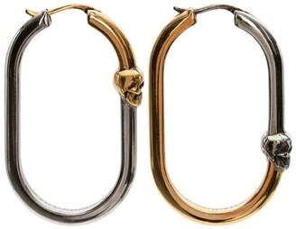 Alexander McQueen Two-Tone Skull Hoop Earrings