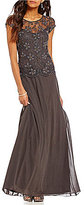 Pisarro Nights Petite Cap-Sleeve Beaded Mock 2-Piece Gown
