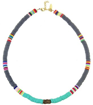 Gray, Turquoise and Copper Heishi Bead Necklace - Yellow Gold