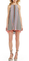 Moa Moa Printed Tassel Trim Swing Dress