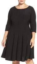 Gabby Skye Plus Size Women's Pintuck Knit Fit & Flare Dress