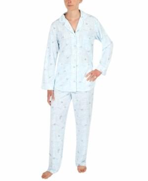 Miss Elaine Printed Honeycomb Knit Pajama Set