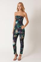 Black Halo Abstract Print Iris Strapless Jumpsuit