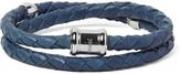 Miansai Double Casing Woven Leather Stainless Steel Bracelet - Petrol