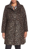 Via Spiga Plus Size Women's Leopard Print Stand Collar Coat