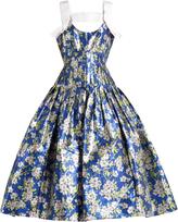 DELPOZO Floral-print pleated midi dress