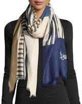 Diane von Furstenberg Woven Collage Cashmere Scarf, Blue/Brown