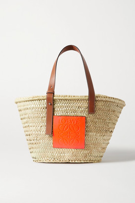 Loewe Paula's Ibiza Medium Leather-trimmed Woven Raffia Tote - Orange