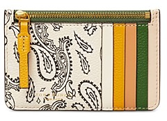 Tory Burch Perry Printed Leather Top Zip Card Case