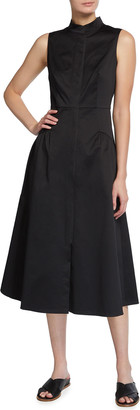 Lafayette 148 New York Band-Collar Sleeveless Poplin Midi Dress